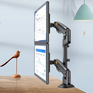 """NB H180 22""""-32""""Double Monitor Stand Gas Spring Full Motion LCD TV Mount 2-12kg Ergonomical Dual Arm - Black"""