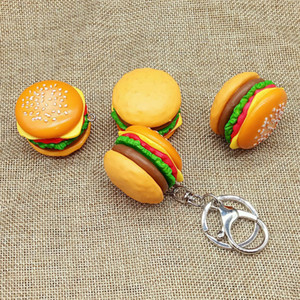 Creative simulation hamburger Keychain DIY hand accessories resin food mobile phone case bag pendant