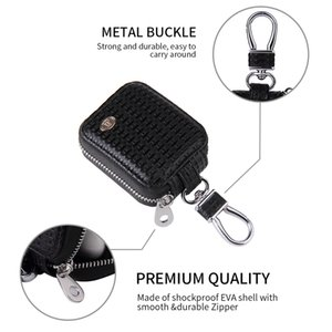 Luxury Vintage Vegan Braided Leather Zipper Storage Bag for TWS Apple Airpods Wireless Earpods Durable Sturdy Solid Woven Pouch Shell Hook