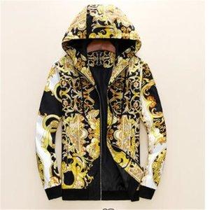 Новая мода дизайнер мужская куртка ветровка с длинным рукавом мужские цветочные куртки с капюшоном одежда Zippe Up up пальто куртки плюс одежда