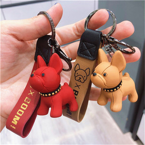 Fashion Punk French Bulldog Keychain PU Leather Dog Keychains for Women Bag Jewelry Trinket Men's Car Key Ring Key Chain cha