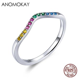 Anomokay 100% Real 925 Sterling Silver Rainbow Wave Finger Rings Colorful CZ Paved Engagement Wedding Ring Jewelry for Women