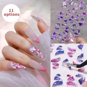 Colorful Nail Stickers 5D Relief Streamer Laser Series Self-adhesive Sticker Three-dimensional Streamers Manicure Art Tips Decoration Beautiful Accessories