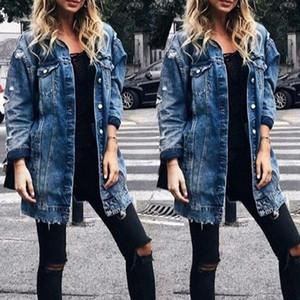 2021 New Stylish Womens Coats Denim Long Coat Jeans Coat Fashion Hole Jacket Female Loose Casual Streetwear Blue Outwear Long