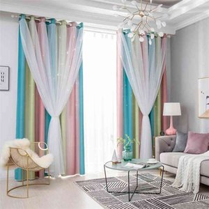 Double Layer Blackout Curtain For Living Room Korean style White Tulle Window Treatments Curtain For Kids Girls Bedroom SZ-001 210831