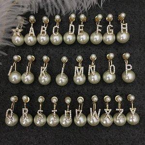 D Aile 19 Yeni Moda Kişilik Flaş Elmas Pearl 26 İngilizce Alfabe Küpe Altın Seriesp55U