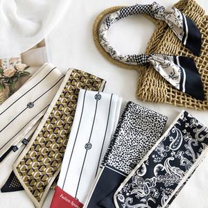 Elegant Print Long Skinny Silk Neck Scarf Spring Summer Long Head Scarves Double-sided Small Scarf Women Fashion Scarf Korea Hot