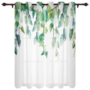 Curtain & Drapes Modern Curtains Plant Hanging Green Leaves Baby Room Bedroom Creative Kitchen Living Terrace Valance