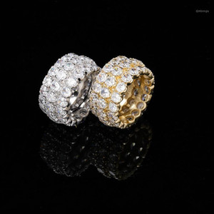 Hip Hop Three Rows Zircon Ring Iced out Bling Full of Zircon Influx Gold Ring for Men Rapper Punk Hip Hop Jewelry1