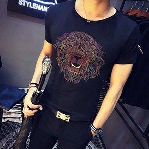 T For 2019 Shirts Summer Designer Men Tops Tiger lion Head Letter printing T Shirt Mens Clothing Short Sleeve Tshirt Men Tops White M-2XL