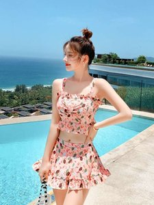 dresses Swimsuit women's 2021 new split two piece set of Korean conservative student's slim girl's hot spring