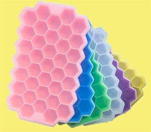 BPA-freie Wabeneis-Cube-Tablett 37 Würfel Silikon Eiswürfel Maker-Form mit Deckeln für Eiscreme Partei Whisky Cocktail kaltes Getränk