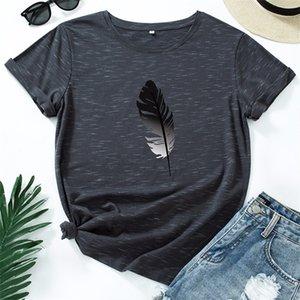 JCGO mujeres camiseta algodón más tamaño 5xl casual verano pluma impresión de manga corta moda femenina femenina gráficos tops 210315