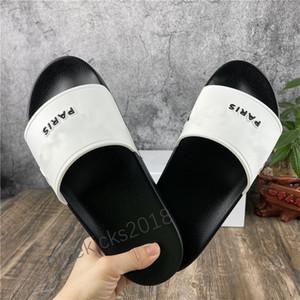 Paris Hommes Sandales d'été Femmes Sandales de plage Beach Slippers Dames Casual Chaussures Cuir Cuir Couleur solide 36-46 avec boîte