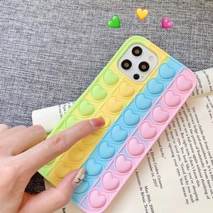 Pop Phone Cases For IPhone 12 11 Pro X XR XS Max 7 8 Plus Press Stress Relief Love Bubble Toy Soft TPU Anti-Fall Cover