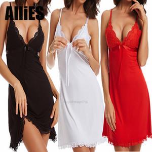 Lady Women Lingerie Lace Sling Solid V-neck Sleepwear Night Dress Plus Size Female Soft Sleeveless Sleepshirts- XH7HGA