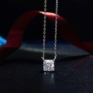 HBP Moda Joyería de Lujo Nueva S925 Colgante de plata esterlina 5A Zircon Radion Cut Simple Necklace Cadena transversal 40 + 5 cm
