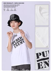 Children's clothing European and American fashion  T-shirt full name public enemy baby's top drop shoulder loose boy's short sleeve