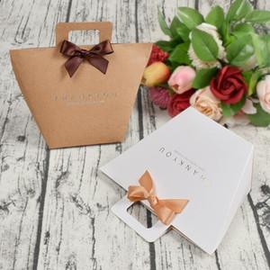 Спасибо Подарочная коробка Сумка с ручкой Складная Свадебная Свадьба Крафт Бумага Конфеты Шоколада Парфюмерия Упаковка Просто