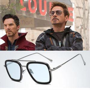 Mode classique Tony Stark Sunglasses Hommes Square Lunettes Man Steampunk Unisexe UV400 Oculos de Sol