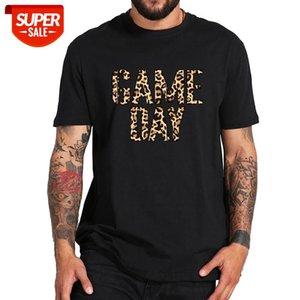 Игровой день TV показать футболку леопардовый печать футбол любитель футболки 100% хлопок экипаж вырезывает высокое качество Tee Tops # 3N6i