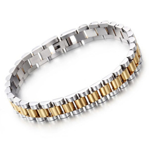 Fashion Men's Bracelet Curb Cuban Link Chain Stainless Steel Mens Womens Bracelets Bangle Gold Tone Watch Link