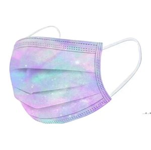 Designer Disposable Face Masks 3 Layers 95% Melt Blown Cloth Dust Air Anti-Pollution Fashion Print Colorful Starry Sky Mask EWF5375