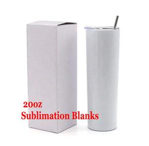 3 pçs / lote Sublimação Tumblers Skinny 20oz Copo magro branco em branco com caneca de aço inoxidável de aço inoxidável da palha da tampa Caneca isolada do vácuo