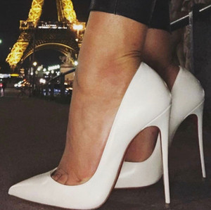 Fashion New Sexy Paint Leather Pumps Pointed Toe Women Sexy High Heels Ankle Strap Lady Party Wedding Rivets Bridal Shoes EU35-43