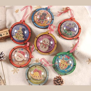 Christmas DIY Handwork Wooden Pendant Childrens Coloring Assemble Toys Material Package Kids Christmas Gifts GWA8619