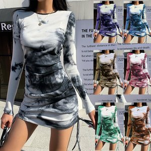 7 colors Hot selling New women's Spring and Autumn sexy slim tie-dye printing slim long-sleeve pleated Short skirt fashion casual dress