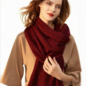 الأوشحة 100٪ الصوف مع غزل ميتاليك وشاح جودة عالية النسيج الطبيعي أزياء الشتاء شال وشاح النساء هدايا عيد للسيدة