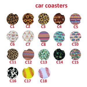 Stock Neoprene Drink Coaster Cactus Flower Printed Coffee Mug Mats Soft Round Non-slip Coaster For Car Home Decoration HH21-107