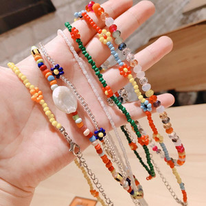 Bohemia Flower Beads Handmade Choker Necklace Women Colorful Rice Beads Chain Necklace For Jewelry Making 2021 New Fashion