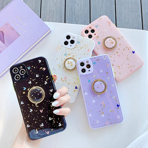 Luxury Gold Foil Bling Love Heart Finger Ring Phone Case For iPhone 11Pro MAX XS Max XR 7 8 Plus Glitter Holder Stand Soft Cover