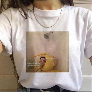 Camisetas para mujer WviOce Moda 90s Camisa para mujer Punk Graphic Printing Ladies Top Oversized Blanco Modal Cuello redondo Ropa
