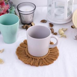 Fringed copo esteira de algodão corda calor isolado pad bohemia mão knitting placemat mesa de mesa mesa mesa mesa mesa de mesa bwb5137
