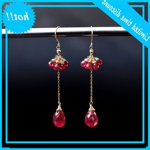 Daimi Ruby Long Yellow 18K Gold Real Gems 패션 발렌타인 데이 선물 귀걸이