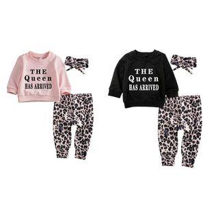 KURIOZUD 0-24M Neonati Neonati Ragazzi Abbigliamento Set Lettera Maglietta a maniche lunghe Felpa Pullover Top Pantaloni Leopardo Fascia
