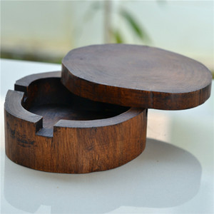 Natural Wooden Carved Ashtray Decorative Wood Lidded Ash Tray Cigarette Holder Tobacco Smoking Utensil Art and Craft Accessories GWC6168