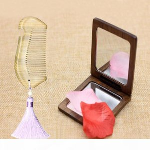 1 Set Portable Green Sandalwood Comb Mirror Hair Comb Set with Double-sided Makeup Mirrors Hair brush send gift box D50