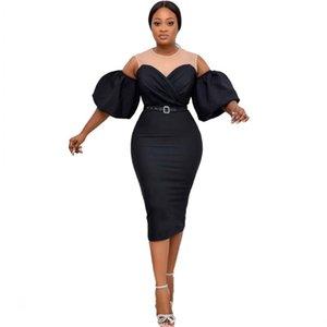 Etnik Giyim 2021 Yaz Afrika Elbiseler Kadınlar Için Dashiki Siyah Giysi Artı Boyutu Baskı Retro Afrika Bodycon Uzun Maxi Elbise