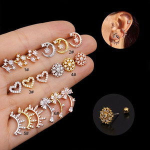 1PC 20G Steel Barbell Cz Cartilage Studs Earrings Heart Star Flower Crystal Tragus Daith Earrings Piercing Body Jewelry