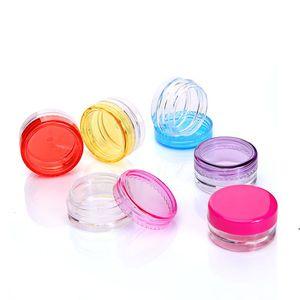 3 جرام 5 جرام واضح الحيوانات الأليفة البلاستيك مجرى التجميل مع غطاء ملون، 3 ملليلتر 5 ملليلتر جولة البلاستيك جرة الطبية المزود فريشيب owf5159