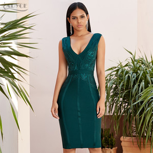 Adyce 2021 New Summer Tank Bodycon Bandage Dress Women Sexy Sleeveless Lace Green Club Celebrity Evening Party Dresses Vestidos 210305