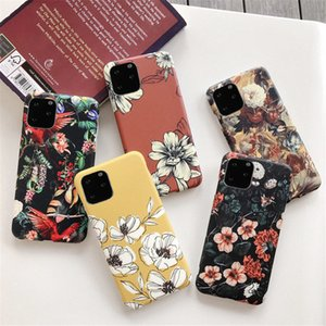 Retro Colorful Flower Case For iPhone 11 Pro Max 12 Pro Max XR XS X 6s 7 8 Plus Leaves floral Matte Soft IMD Back Cover