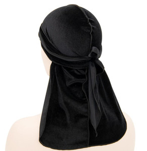 Hot sale Men's Velvet Durags Bandana Turban Hat Wigs Doo Durag Biker Headwear Headband Pirate Hat Hair Accessories
