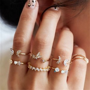 Bohemian Midi Knuckle Ring Set For Women Gold Color Crystal Flower Geometric Finger Rings Vintage Jewelry