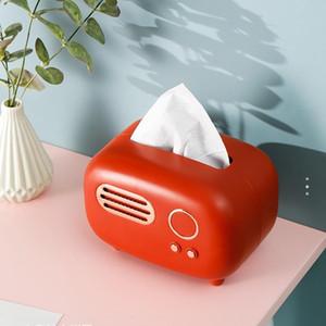 Retro Radio Model Tissue Box Desktop Paper Holder Vintage Tissue Paper Dispenser Storage Napkin Case Organizer Ornament Craft