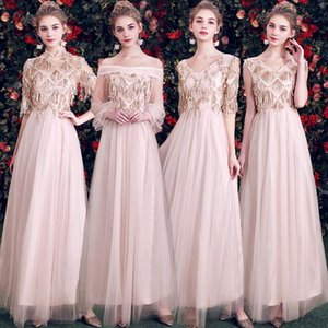 2021 Spring NEW Bridesmaid Wedding Dress Slim Glitter Party Maxi Dresses Sexy Solid Celebrity Evening Cheongsam Vestidos S-XXL
